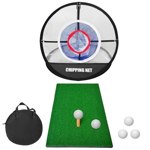 Pop Up Golf Chipping Net Combo mit Golf Schlagmatte Indoor Backyard Golf Training Übung Ziel Schlagnetz mit 5 Bällen