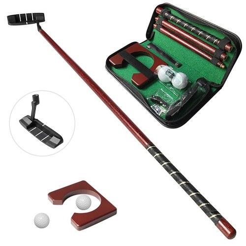 Conjunto de Golf Putting com Golf Putter 2 Bolas de Golf Golf Putting Cup para Viagem Indoor Golf Putting Practice Kit portátil de Golf Putter Adequado para destros