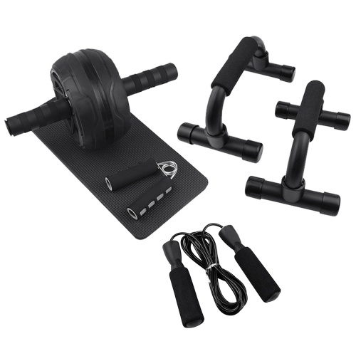 AB Wheel Roller Kit Abdominal Wheel Set with Push-Up Bar Jump Rope Hand Gripper and Knee Pad Home Gym Workout Equipment for Fitness Training