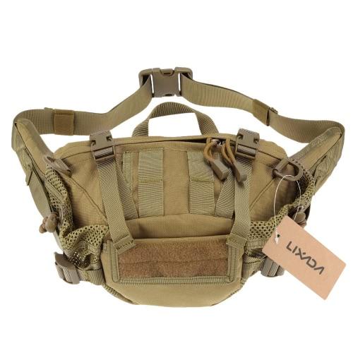 Lixada Uomini Nylon vita del pacchetto di spalla portatile versatile Tactical Pack per l'escursione di campeggio esterna