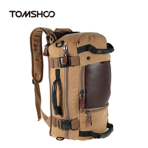 TOMSHOO Large Capacity Multifunction Canvas Backpack Shoulder Bag Travel Bag Outdoor Mountaineering Hiking Camping Leisure Rucksack Men's Laptop Backpack 30L