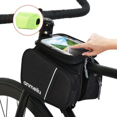 Lixada Bike Top Tube Bag Cycling Front Frame Bag Bike Phone Pouch Bicycle Frame Bag Touch-screen 6IN Phone Pouch with Waterproof Rain Cover