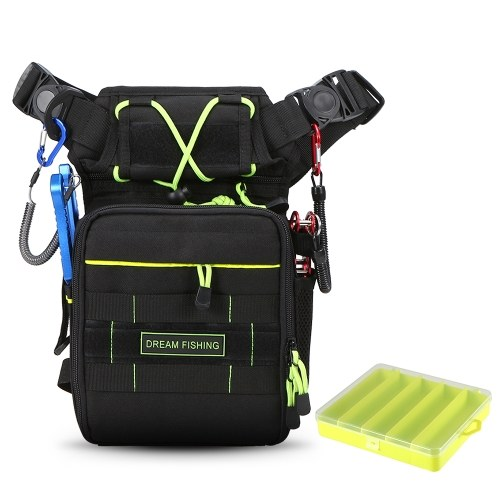 Outdoor Multifunctional Fishing Tackle Bag Chest Pack Thigh Bag with Utility Case Box