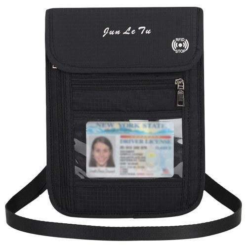 Cartera con cuello de bolsa de viaje con soporte para pasaporte con bloqueo RFID