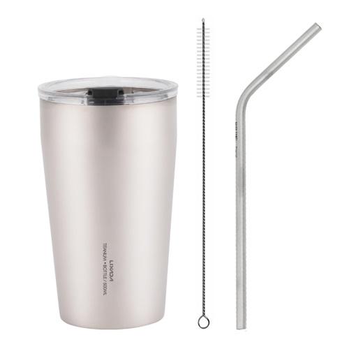 Lixada 500 мл Титановая пивная чашка с двойными стенками, трубочка для питья и щетка для чистки, походная чашка для кемпинга