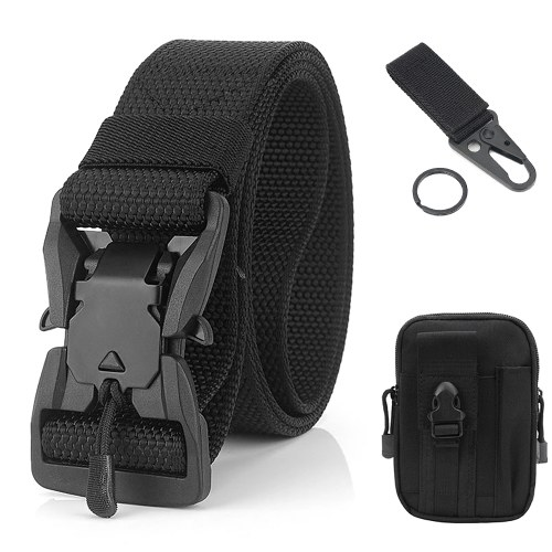 Quick Release Metal Buckle Belt with Waist Pouch Snap Hook Strap for Camping Hiking Fishing