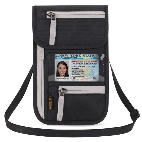 Bolsa de pescoço de viagem no aeroporto Pescoço Carteira Stash Passport Holder Document Organizer