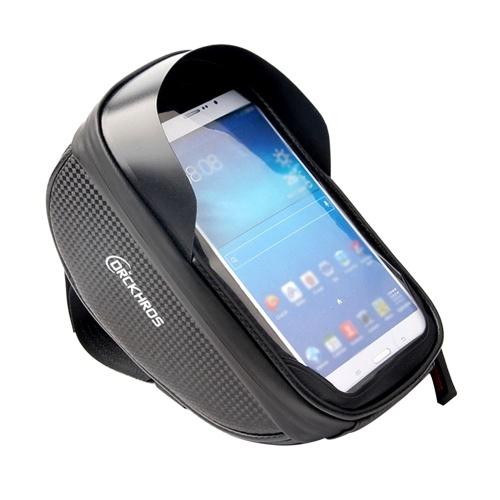 Universal Bike Phone Mount Bag Bicycle Front Frame Bag Waterproof Screen-Touching Handlebar Bag Bicycle Accessories Phone Holder with Double Zipper & Sun-Visor Image