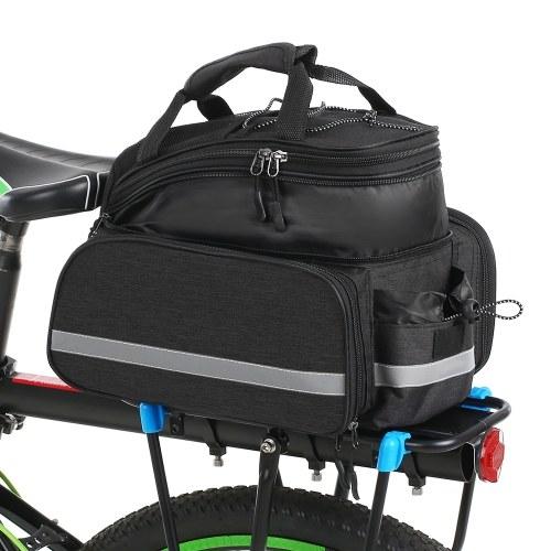 Bicycle Rear Seat Bag Multifunction Expandable Waterproof MTB Bicycle Pannier Bag Bike Rack Bag With Rain Cover Image