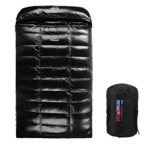 Saco de dormir duplo leve de penas de ganso 90% branco 220x130cm com saco de compressão para mochila, acampamento, caminhada, viagem