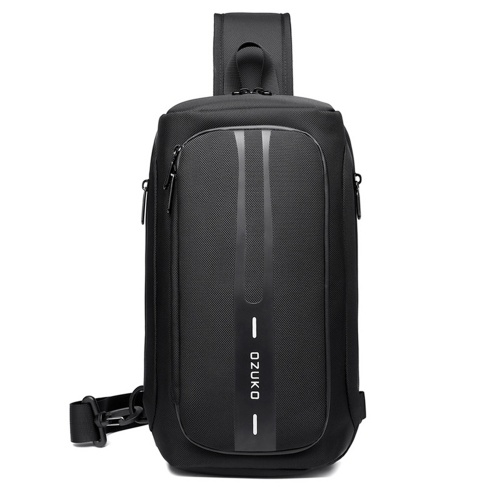Ozuko New Style Business Chest Bag Outdoor Waterproof USB Anti-theft Multi-function Shoulder Messenger Bag for Men