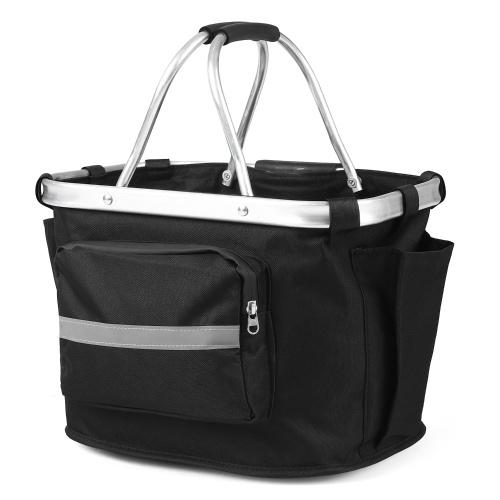 Collapsible Bike Basket Detachable Bicycle Handlebar Front Basket Bag Pet Carrier Bag for Shopping Commuting Image