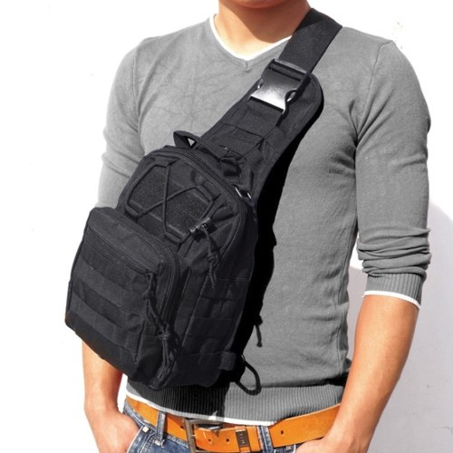Men Outdoor Backpack Sport Bag Zipper Adjustable Stappy Shoulder Backpack Pouch Chest Bag