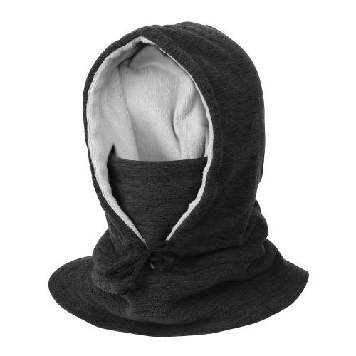 Men Women Winter Balaclava Warm Windproof Fleece Lining Drawstring Neck Gaiter Cycling Hiking Running Outdoors Hat