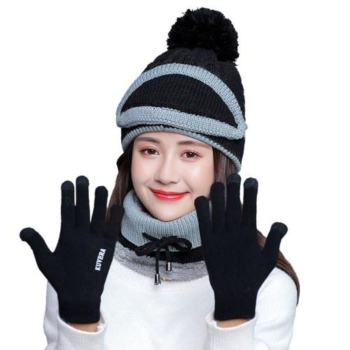 4PCS Frauen Winterhals Warm Schal Set Hut Strick Touchscreen Fäustlinge Winter Warm Anzug