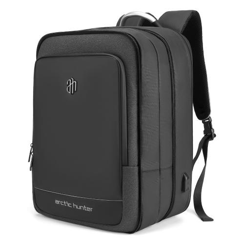 Mochila para laptop de grande capacidade de 40 litros, mochila expansível de 17 polegadas à prova d'água Pacote de viagem de negócios com porta de carregamento USB para viagens de escola de negócios