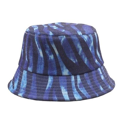 Sombrero de cubo Patrón de rayas multicolor Gorra de ala ancha plegable ajustable Gorra de pescador Moda de viaje en la playa