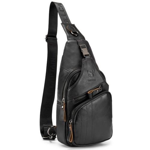 Saco de estilingue masculino resistente à água anti-roubo pacote de tórax de couro genuíno Saco de corpo cruzado mochila de ombro mochila casual mensageiro