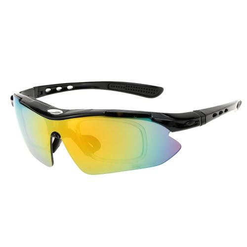 屋外サイクリング スポーツ乗馬メガネ軽量男女兼用ゴーグル眼鏡 5 レンズ UV400 偏光太陽メガネ自転車バイク