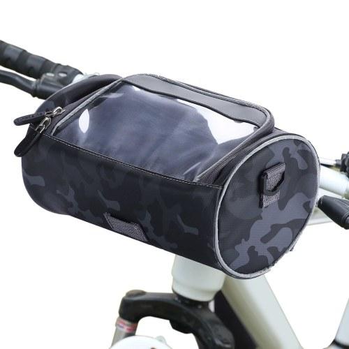 Borsa impermeabile per manubrio della bici Borsa anteriore per bicicletta Camouflage Touchscreen Portacellulare Borsa Pack Borsa a tracolla Borsa MTB Ciclismo Borsa laterale