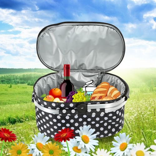 30L Foldable Picnic Basket Outdoor Insulated Storage Basket Shopping Basket Folding Aluminum Handle 46 * 25 * 24cm