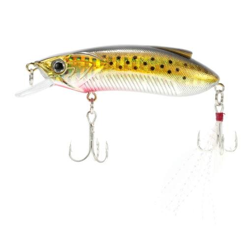 8cm 15g Minow pesca con Señuelos duro cebo con anzuelos triples lengua grande placa pluma
