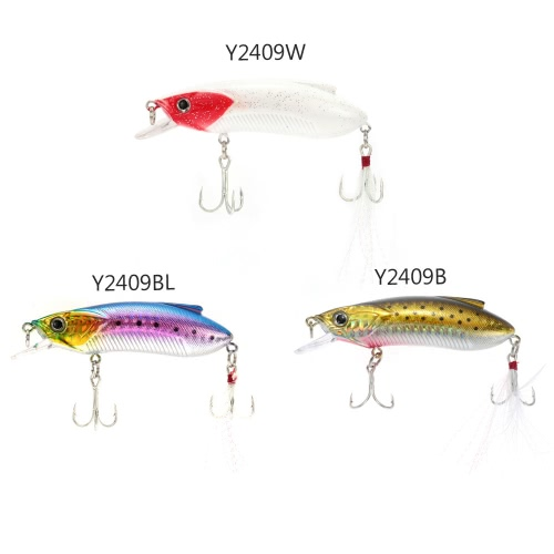 8cm 15g Minow Fishing Lure Hard Bait with Treble Hooks Large Tongue Plate Feather Y2409B