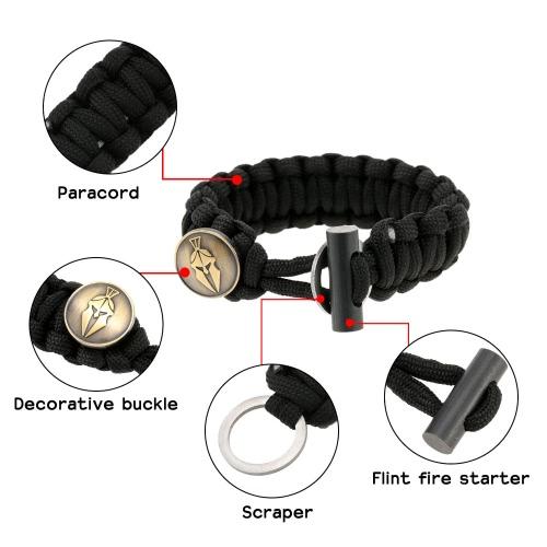 Прочный разносторонний и модные Paracord браслет с Firestarter выживания Kit браслет для мероприятий на свежем воздухе