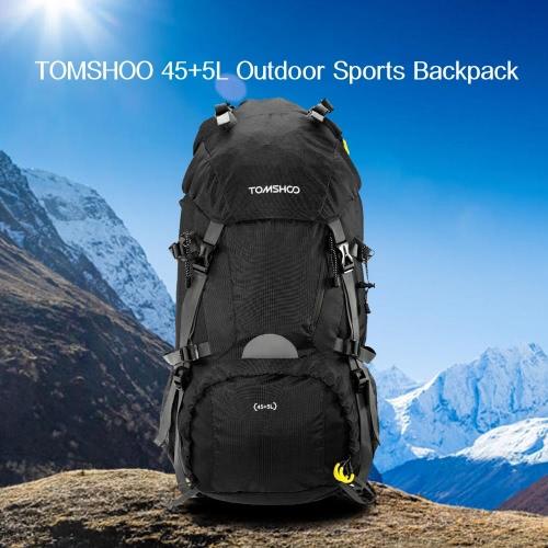 TOMSHOO 45 + 5L im Freiensport Wandern Trekking Camping Reise Rucksack Pack Tasche Bergsteigen Klettern Knapsack mit Regen-Abdeckung