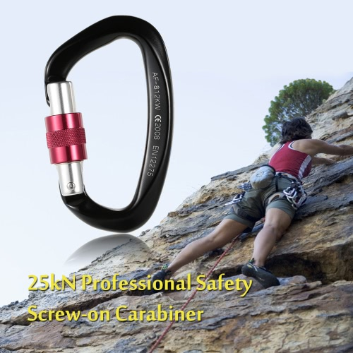 25kN Berufssicherheits Screw-on Biner Buckle Aluminium-Legierung Karabiner für Outdoor-Survival-Bergsteigen Klettern Caving Abseilen Rettungstechnik