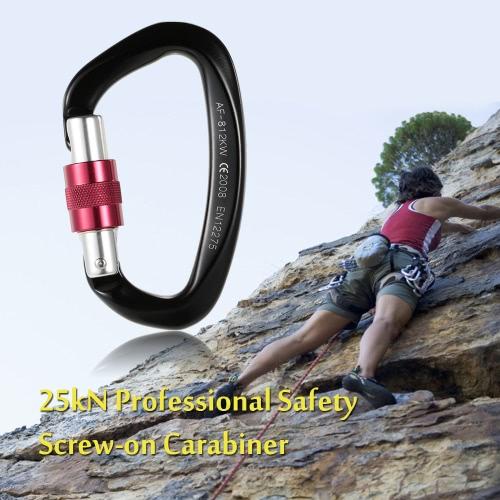 25kN sicurezza professionale a vite Biner fibbia in lega di alluminio moschettone per la sopravvivenza esterna Alpinismo Rock Climbing Speleologia Rappelling Rescue Ingegneria