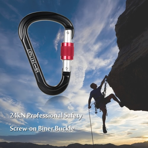 24kN Professional Safety Screw-on Biner Buckle Aluminum Alloy Carabiner for Outdoor Survival Mountaineering Rock Climbing Caving Rappelling Rescue Engineering
