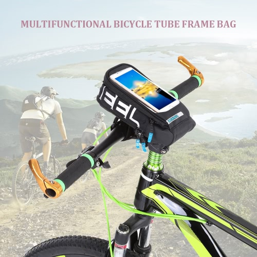 Multifuncional de la bicicleta del marco del tubo bolsa de ciclo del Pannier de la bici del bolso de la pantalla táctil del sostenedor del teléfono