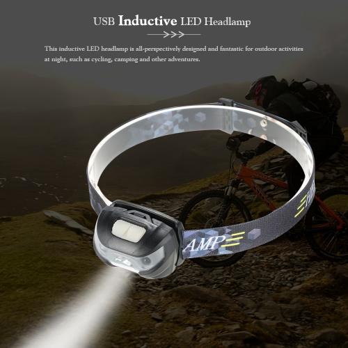 Outdoor-USB-LED-Scheinwerfer Scheinwerfer Wasserdicht LED Induktive Taschenlampe-Kopf-Licht-Lampe