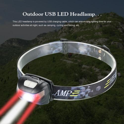 USB 3000LM LED esterna del faro del faro della torcia elettrica della lampada LED luce della testa per il riciclaggio di campeggio di pesca