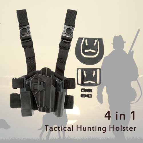 4 in 1 Tactical Hunting Quick Release Drop Leg Thigh Rig Holster Platform with 2 Pouches for P226