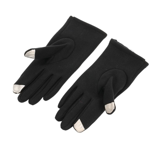 Women's Stylish Lace Touch Screen Gloves Lined Thick Warm Winter Gloves