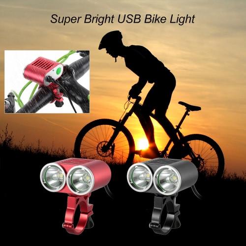 Frente del manillar de la bici de luz USB 2400 lúmenes de gran alcance brillante estupendo LED de seguridad de ciclo de la linterna luces dobles luz de la bicicleta a prueba de agua