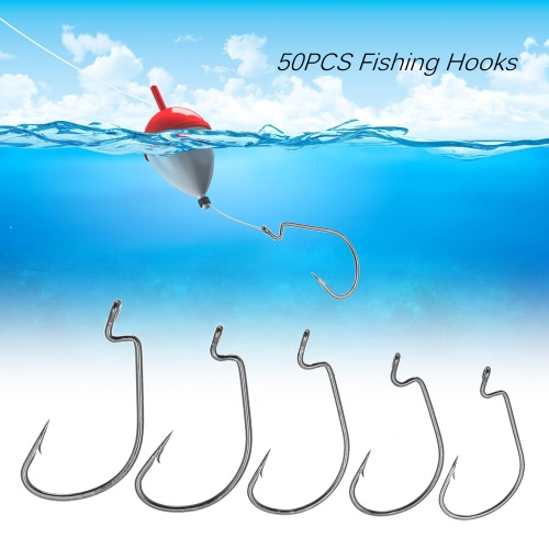 50шт Крючки высокоуглеродистой стали Колючая рыболовные крючки Набор 5 Размеры 2 # 1 # 1/0 # 2/0 # 3/0 #