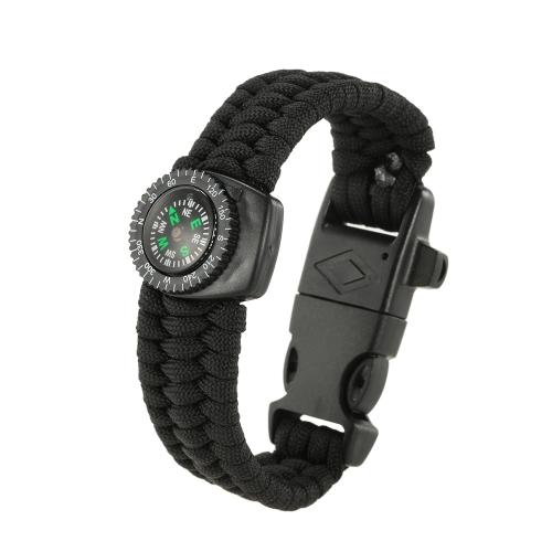 Lixada 2 STÜCKE 5-in-1 Outdoor Survival Paracord Armband mit Kompass Feuer Starter und Notfall Pfeife
