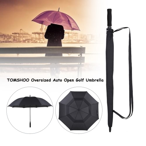 TOMSHOO 61 Inch Oversized Automatic Auto Open Golf Umbrella Outdoor Extra Large Double Canopy Ventilated Windproof Stick Umbrella Y4396B