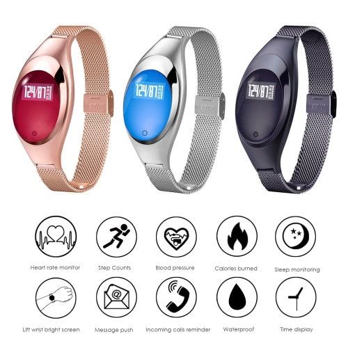Women Fashion BT Smart Watch Metal Wristwatch Bracelet High Definition LED with Blood Pressure Heart Rate Monitor Pedometer Fitness Tracker