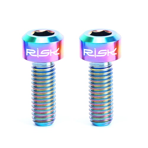 RISK 2PCS M5×14mm Titanium Bolts for Bike Thumb Shifter Fixed Screws Ti Conjoined Hexagon Ti Screws Ti Fastener MTB Bicycle Parts
