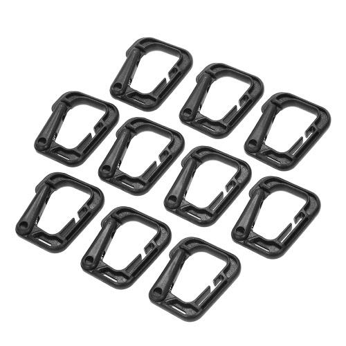 Paquete de 10 multiusos D-anillo de bloqueo de gancho colgante Link Snap Llavero para Molle correas
