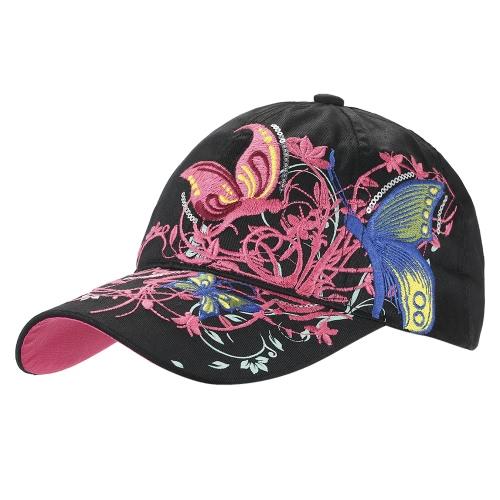 Beiläufige Baseball-Hut-Kappe Schmetterlings-Blumen-Stickerei-Kappen Hüte Mode für Frauen