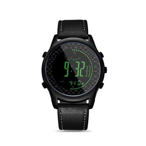 Spovan Цифровые интеллектуальные часы с неподдельными кожаными полосами Спортивные часы Наручные часы Compass Pacer Pedometer Водонепроницаемая светодиодная подсветка
