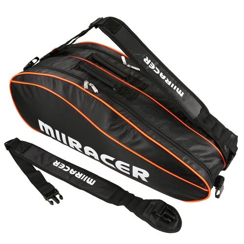 6 Schläger Tasche Badminton Tennisschläger Tasche Rucksack Racket Aufbewahrungstasche Halter
