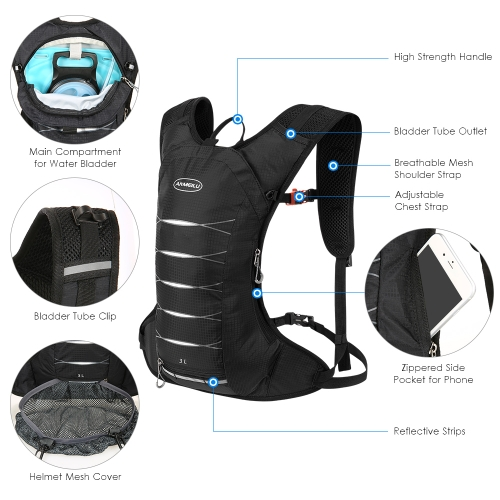3 Liters Cycling Hydration Backpack Lightweight Water-resistant Daypack Bag for Outdoor Riding Hiking Running Camping Image