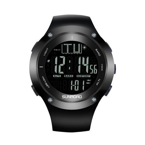 SUNROAD 5ATM Reloj Retroiluminado Impermeable Termómetro Altímetro Cronómetro Barómetro de Pesca Reloj Deportivo Al Aire Libre
