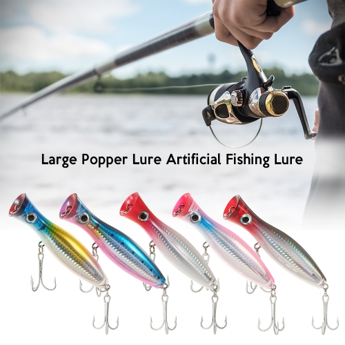 12cm / 45g Large Popper Lure Artificial Seal Lure 3D Eyes Hard Popper Fishing Lure with Hooks and Ring for Saltwater Freshwater Image